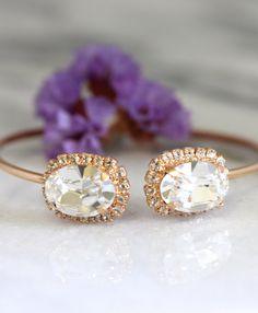 Bridal Bracelet,White Clear Crystal Bridal Bracelet,Open cuff Gold Bracelet,Rose Gold Bracelet,Swarovski Crystal Bracelet,Bridesmaids Gifts