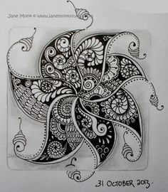 Springkle  |  Zentangle Tangle unpublished  | with Fengle by Jane Monk at One Tangle : October 2013