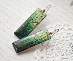 Leaf green earrings Bright green branch earrings by BeautySpot