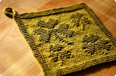 The St. Patrick's Day Cloth by Kris Knits. She designed a LOT MORE amazing knit-purl variously themed cloths - see at Ravelry!