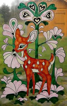 WICOART STICKER WINDOW COLOR CLING FAUX STAINED GLASS DOODLE BAMBI NURSERY