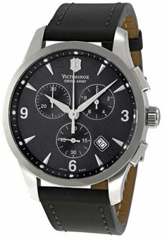 Victorinox Swiss Army Alliance Chronograph Black Strap Mens Watch 241479 Victorinox Swiss Army. $481.36. Swiss Quartz. Round Stainless Steel Case. Water Resistance : 10 ATM / 100 meters / 330 feet. Black Calfskin Strap. Chronograph Display. Save 39% Off!