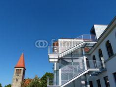 Außentreppe an der Grundschule Helpup bei Oerlinghausen in Ostwestfalen-Lippe