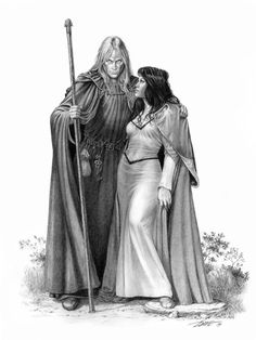 Raistlin Majere and Lady Crysania Tarinius by fantasy artist Larry Elmore