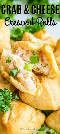Homemade crab and cream cheese filled crescent rolls are a tasty appetizer or snack! The filing is made with cream cheese, mayonnaise, and green onions and baked in pastry dough or wontons. They are a super easy appetizer that my family loves! Crab Appetizer, Cheese Appetizers, Yummy Appetizers, Appetizer Recipes, Seafood Appetizers, Seafood Dishes, Dessert Recipes, Crescent Roll Appetizers, Cream Cheese Crescent Rolls