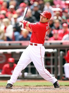 CINCINNATI, OH - APRIL 11: Joey Votto #19 of the Cincinnati Reds hits a double in the ninth inning during the game against the St Louis Cardinals at Great American Ball Park on April 11, 2012 in Cincinnati, Ohio. (Photo by Andy Lyons/Getty Images)