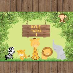 safari, jungle, zoo animals baby shower 1st birthday printable backdrop sign poster banner for dessert table 84x60 PDF personalized by PRINTABLEPARTYPAPERS on Etsy