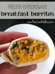 Homemade breakfast burritos that you can freeze and re-heat in the microwave. My husband takes these to work everyday.  Love this recipe!!