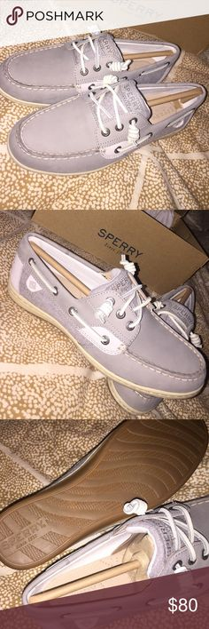 Grey sperrys, never worn, new in box! Size 8 grey sperrys, new with box! Selling close to the buying price I paid because they are brand new and unfortunately posh takes a good part of the money:/ lmk if you have any questions! Make an offer but please no low ballers! Sperry Shoes Flats & Loafers