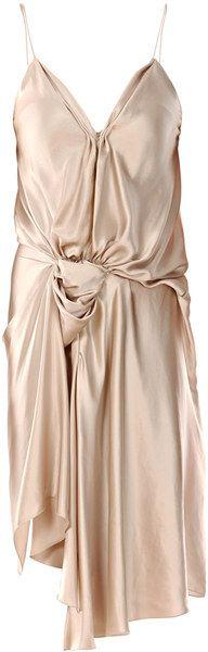 Lanvin Spaghetti Silk Dress in Gold (nude)