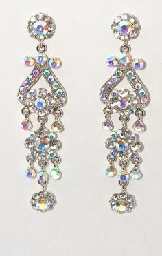 The Little White Dress Iridescent Chandelier Earrings