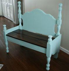 Aqua Bench, I turned a headboard into a bench!