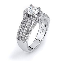 Sterling silver quadruple shank with halo CZ Engagement ring with rhodium plating