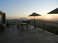 Bloemendal Restaurant, Durbanville, Cape Town at sunset with Table Mountain in the distance. Best Hospitals, Cape Town South Africa, Table Mountain, Far Away, Live, Countryside, The Good Place, Patio, Explore