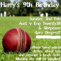 Cricket party invitation #cricketparty #mintandfizz.com Cricket Cake, 9th Birthday, Birthday Ideas, Sports Party, Cat Party, Party Themes, Party Ideas, Birthday Party Invitations, Kids And Parenting