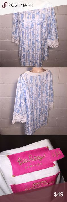 "Lilly Pulitzer white and blue tunic Great condition.  No stains, tears, or holes 18.5"" chest and 27"" length •I bundle & discount bundles •If an item is higher than you want to pay, message an offer or favorite & wait for price to drop weekly.  •My mannequin is Xsm so sometimes items appear loose or I clip back for actual look/fit •Usually ships within 24 hrs and latest 48 hours unless otherwise noted.  •Some of my items are various sizes because I sell for sister as well. #lillypullitzer…"