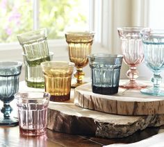 Colorful Cafe Glassware, Set of 6 | in blush and turquoise (goblets)