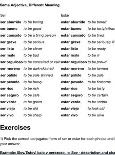 Using some adjectives with ser and estar can completely change the meaning. Take a look!
