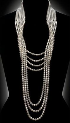 3b1bb6547 Mikimoto diamond and pearl necklace. Pearl Necklace Vintage, Diy Necklace  Pearl, Pearl Necklace