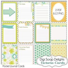 Victoria Pocket Journal Cards, 3x4 Olive Green, Orange Project Life Inspired, Printable Digital Scrapbook,  Instant Download via Etsy