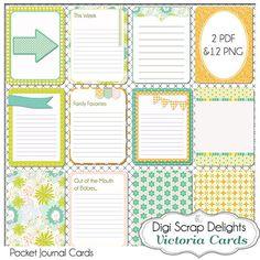 Victoria Pocket Journal Cards, 3x4 Olive Green, Orange Project Life Inspired, Printable Digital Scrapbook,  Instant Download via Etsy