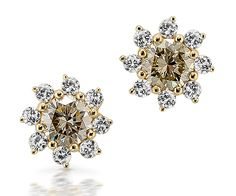 Star-shaped stud earrings in yellow gold displaying two Fancy Yellow diamonds tw) beset with a total of 16 white brilliant-cut diamonds tw). Yellow Diamonds, Star Shape, Diamond Jewelry, Brooch, Stud Earrings, Fancy, Gemstones, Gold, Design