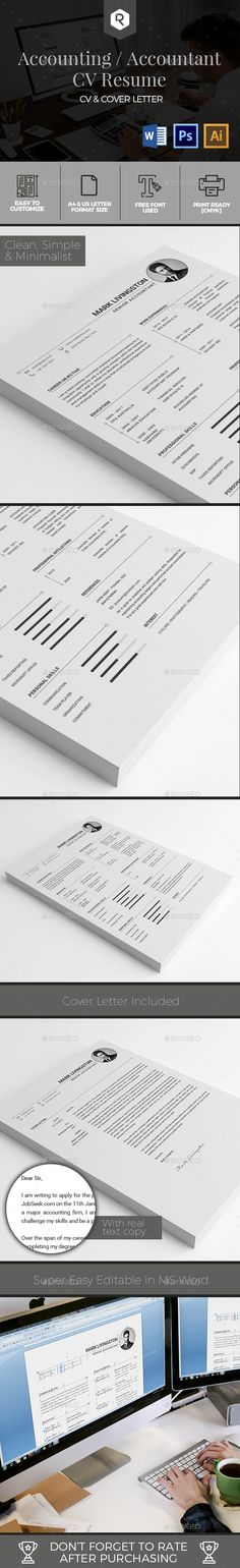 Accounting / Accountant CV Resume Template - #Resumes Stationery Download here: https://graphicriver.net/item/accounting-accountant-cv-resume-template/19327090?ref=alena994
