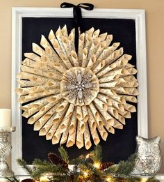This Vintage Paper Wreath will make a beautiful addition to your holiday decorations. You'll also love the Paper Snowflakes and Doily Christmas Trees!