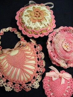 Collection of vintage crocheted Pink Vanity accessories ~ Powder Puff & more!