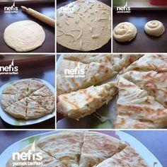 #nefisyemektarifleri Katmer (Peynirli) Malzemeler 1/2 kilo un Tuz Kuru Maya ( bir yemek kaşığı ) Su Tereyağı Sıvı yağ Beyaz peynir Hazırlanışı Tuz ve mayayı biraz suda eritiyoruz.Azar azar un ve su ekleyerek yumuşak bir hamur elde ediyoruz iki bezeye ayırıp biraz dinlendiriyoruz beş dakika kadar resimde ki gibi açıp yağlıyoruz sıvı yağı ve tereyağını karıştırıyoruz peyniri serpip rulo yapıyoruz ve resimdeki gibi sarıyoruz bir on dakika daha bekletip tava da az yağda pişiriyoruz.