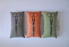 Scissor Pillows/grey, peach, mint/needlepoint, handmade by Kasia Urban Rybska