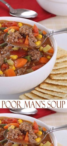 Poor Man's Soup recipe is a simple soup recipe with budget ingredients that is easy to makePoor Man's Soup Recipe. Poor Man's Soup recipe is a simple soup recipe with budget ingredients that is easy to make Easy Soup Recipes, Beef Recipes, Healthy Recipes, Healthy Meals, Veggie Soup Recipes, Recipes Dinner, Recipes With Beef Consomme, Vegetarian Meals, Dinner Ideas