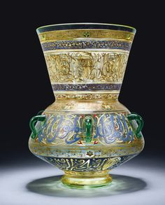 Brocard Mamluk-style gilded and enamelled glass mosque lamp, Paris, 19th/20th century. 42.5cm. height 27.5cm. max. diam.