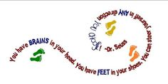 Dr Seuss LARGE You have Brains in Your Head Feet  Shoes Childrens Vinyl Wall Decal- MULTI COLORED