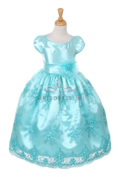 Aqua Shiny Satin Embroiedered Lace Dress with Corsage B1007-AQ B1007-AQ $54.95 on www.GirlsDressLine.Com