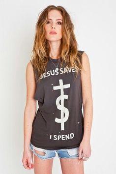 T-shirt jesus saves i spend