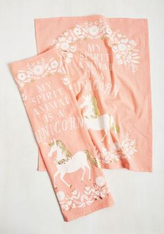 The Neighs Have It Tea Towel Set. Its unanimous - all your roomies agree that these pale coral tea towels are the ultimate way to clean up! #pink #modcloth