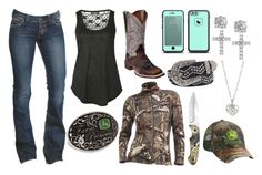 """""""Demolition Derby :D"""" by im-a-jeans-and-boots-kinda-girl ❤ liked on Polyvore featuring John Deere, 1921, Dan Post, BKE, Pilot, Icebreaker, Giani Bernini, Finn and country"""