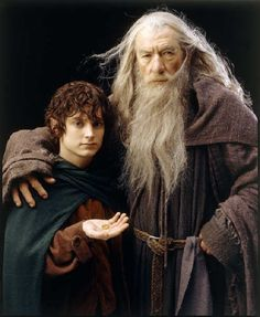 Frodo (Elijah Wood) & Gandalf (Ian McKellen), The Lord of the Rings, via Heathen Warrior Aragorn, Gandalf, Legolas, Lord Of Rings, Fellowship Of The Ring, Elijah Wood, Frodo Baggins, Thorin Oakenshield, J. R. R. Tolkien