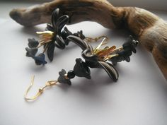 Earrings Black Flower £6.50