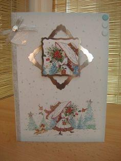 Handmade Christmas Card - Cute Christmas Girl A5   Kibbs Cards MISI Handmade Shop