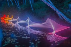 The Motions of Kayaking and Canoeing Recorded through Light Painting on Canadian Waterways