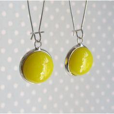 Canary Yellow Earrings , Handmade Fused Glass Dangle Earrings in Bright Yellow