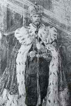 A beautiful drawing of Tsar Nicholas ll of Russia in full coronation regalia, including the Imperial crown.