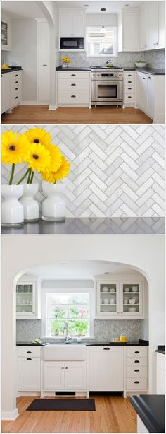 Rom Architecture Studio: This backsplash has a zig zag pattern repeated all over with the tiles having a mixed colour of white and grey. This design is appearing beautifully with the white kitchen and wooden floor as shown in he photo.