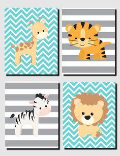 Nursery Decor, Nursery Art, Teal Gray Wall Art, Jungle Animals, Baby Nursery Decor, Safari Animals Wall Art, Toddlers, Printable,Set of 4 by VTDesignsPrintables on Etsy