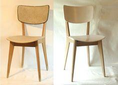 Rafraichir des chaises des années 50 au look vieillot = bois brut et peinture blanche satinée (T) : j'ai les chaises