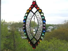 Stained Glass Suncatcher - Swarovski Crystal - Rainbow Gems - Home & Living - Decor and Housewares - Handcrafted - Made in USA