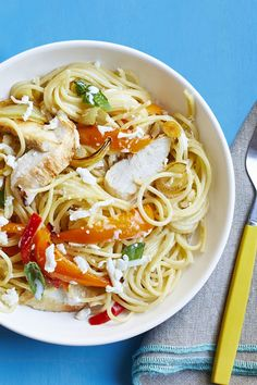 Spaghetti with Roasted Chicken and Peppers - WomansDay.com