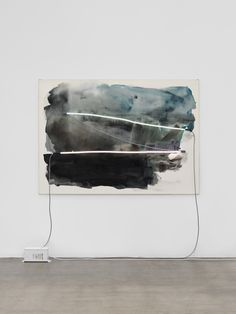 Mary Weatherford, the dam, 2014, Flashe and neon on linen, 55.25 x 77.38 x 3.75 inches (140.3 x 196.5 x 9.5 cm)